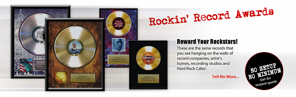 Gold and Platinum Record Awards provided by Brand O' Guitar Company.